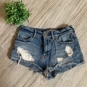 Bullhead High Rise Distressed Jean Shorts